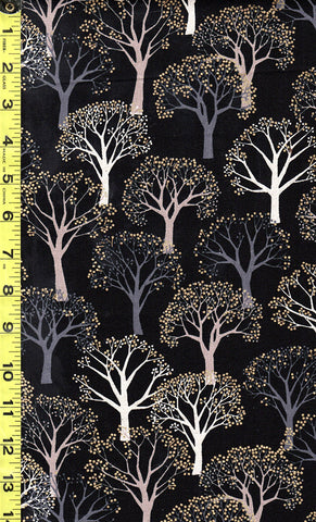 Japanese - Cosmos Winter Trees - Cotton-Linen - Black