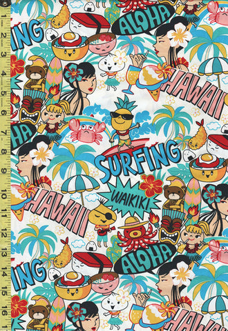 *Tropical Novelty - Surfing Hawaiian Style - MY-20238 - White