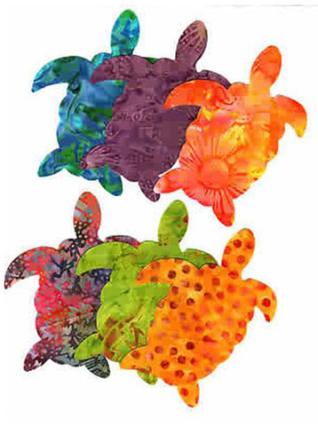 Fabric Fun Shapes - Sea Life - Turtles - Bright Batiks