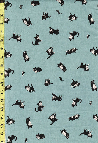 Japanese Novelty - Hishiei Tuxedo Cats - Cotton-Linen - H-7042-2C - Aqua