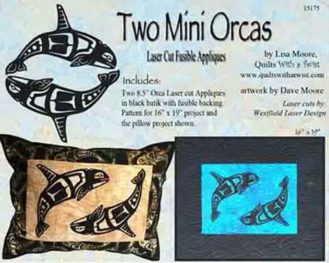 Quit Pattern & Laser Cut Applique - Two Mini Orcas