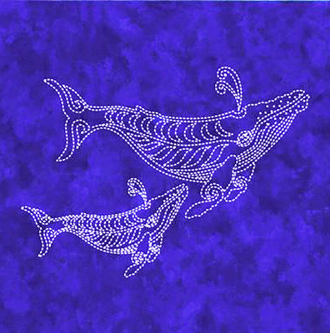 Sashiko - Pre-printed Sea Life Panel - Two Whales