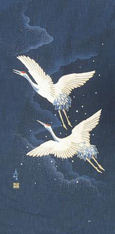 Noren Panel -  Two Cranes in Flight # 66