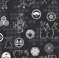 Japanese * Wagara - Bunnies & Japanese Crests- Black