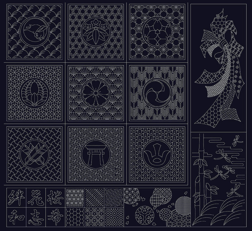 Sashiko Pre-printed Panel - Wagara Noshi Ribbon & Japanese Motifs - Navy (Very Dark-Almost Black) - # HF1115-1NV