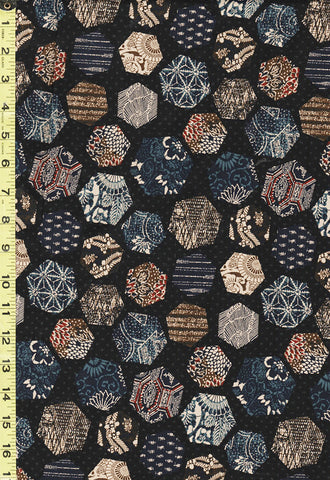 Japanese - Traditional - Hexagons with Japanese Motifs - W-1319-2A - Black