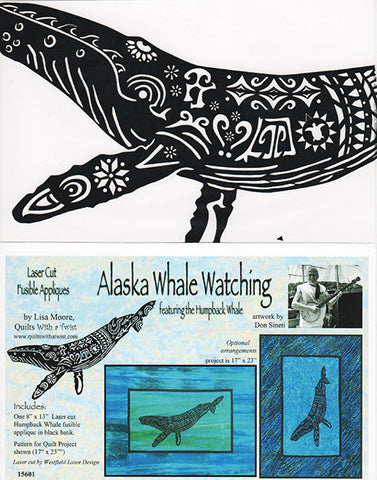 Quit Pattern & Laser Cut Applique - Alaska Whale Watching