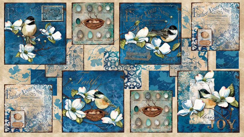 Novelty - Feather Your Nest - Chickadees & Magnolia Blossoms - PANEL