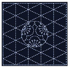 Sashiko Pre-printed Sampler - # Y0206 - Sashiko Ume Mon & Diamonds - Navy