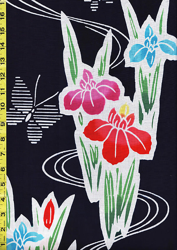Yukata Fabric - 010 - Large Colorful Iris & Butterflies