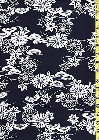 Yukata Fabric - 014 - Mums, Maples & Pines