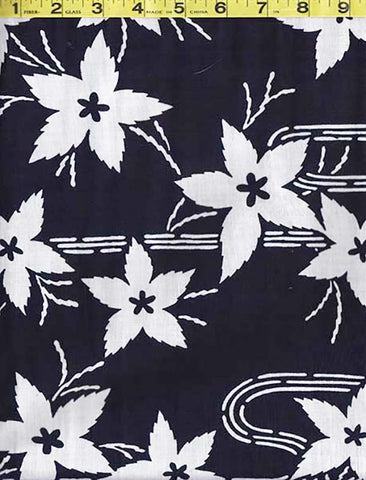 Yukata Fabric - 015 - Floating Leaves & River Swirls