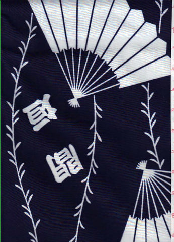 Yukata Fabric - 016 - Large Fans & Floating Kanji