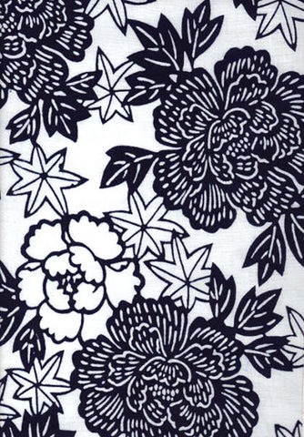 Yukata Fabric - 042 - Peonies & Maple Leaves