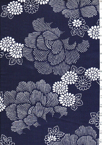 Yukata Fabric - 046 - Peonies & Floating Mums
