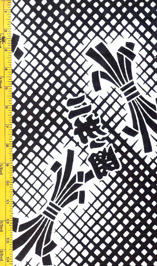 Yukata Fabric - 051 - Noshi Lattice & Kanji