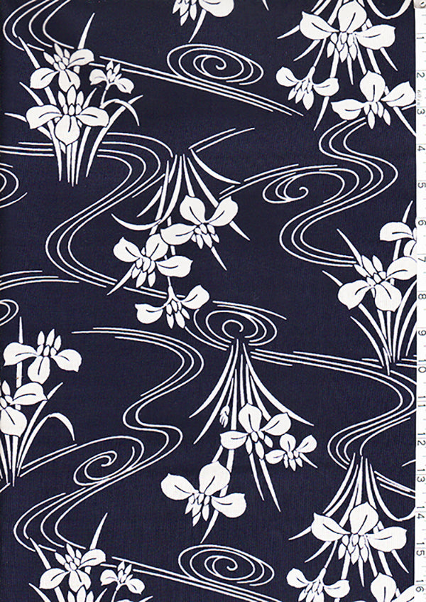 Yukata Fabric - 088 - Iris & River Swirls