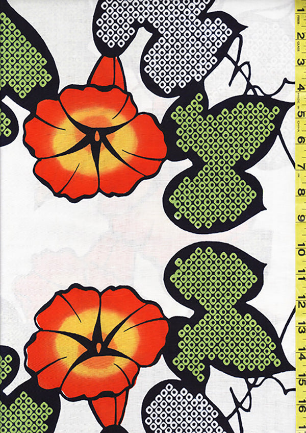 Yukata Fabric - 092 - Orange Morning Glories - White