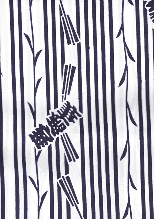 Yukata Fabric - 107 - Stripes & Floating Kanji