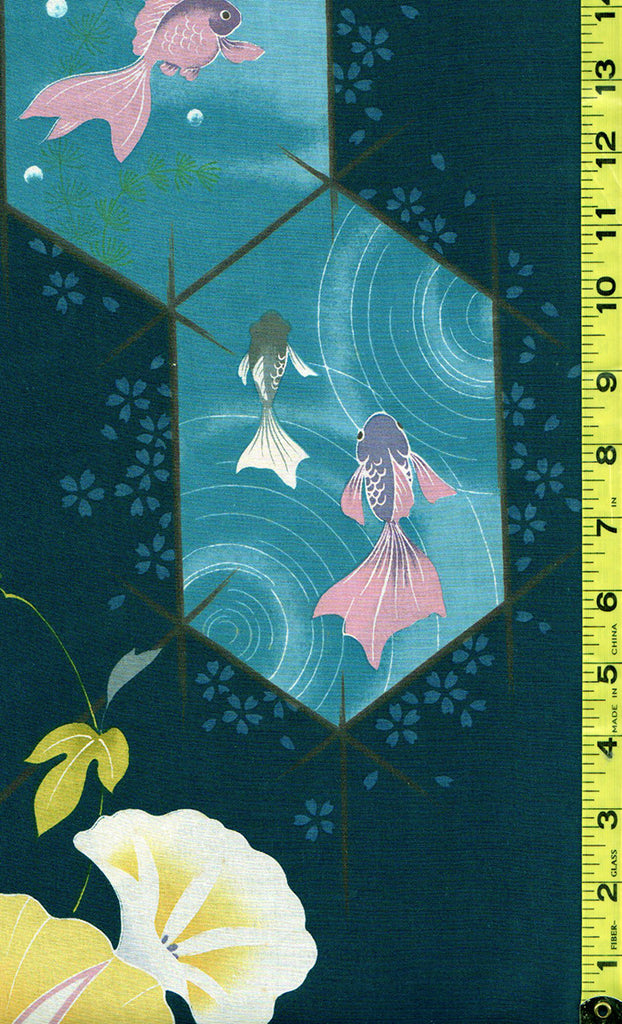 Yukata Fabric - 527 - Goldfish & Morning Glories