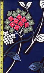Yukata Fabric - 203 - Pink, Purple & Green Hydrangea - Blue