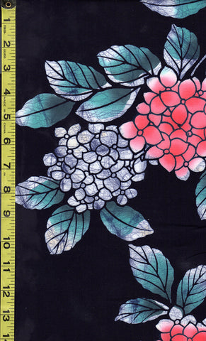 Yukata Fabric - 029 - Hydrangea - Salmon with Teal Leaves - Dark Indigo (almost reads black)