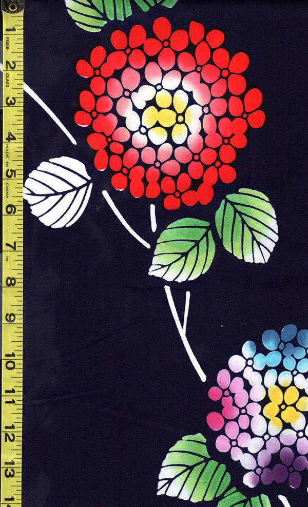 Yukata Fabric - 088 - Colorful Hydrangea - Dark Indigo (almost reads black)