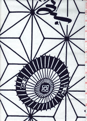 Yukata Fabric - 070 - Asanoha & Umbrellas - White
