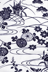 Yukata Fabric - 072 - Mums, Iris, Maples and River Swirls