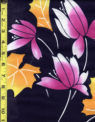 Yukata Fabric - 514 - Purple Orchid Flowers with Golden Yellow Leaves - Dark Navy