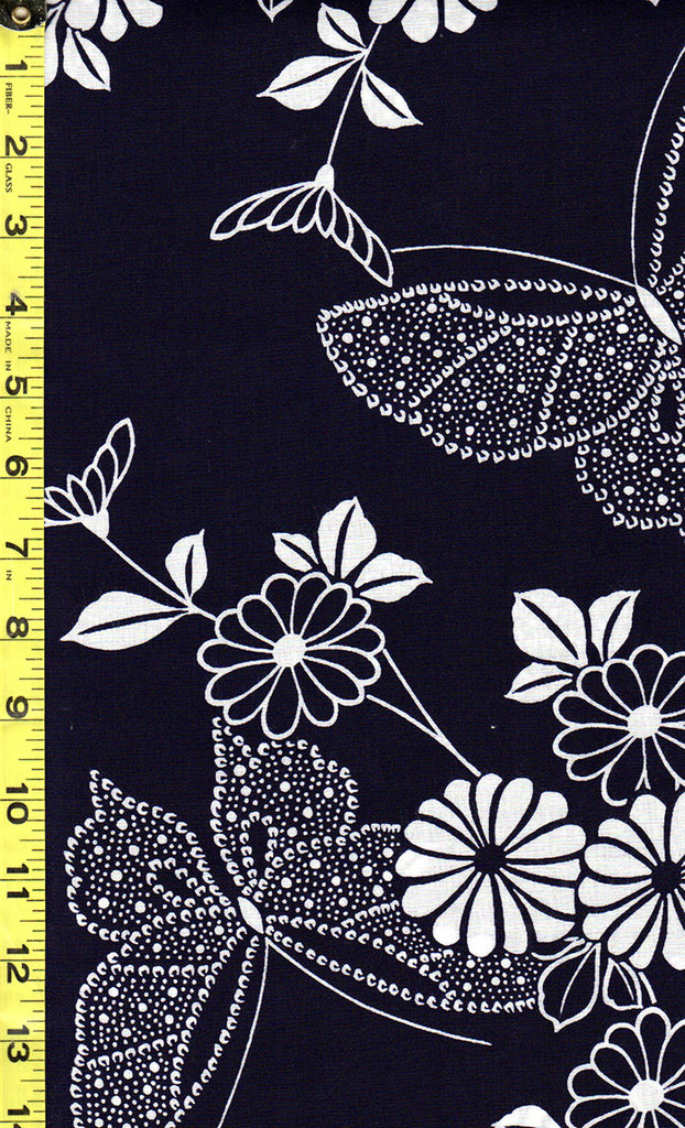 Yukata Fabric - 525 - Butterflies & Flowers - Indigo