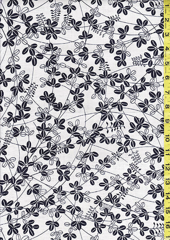 Yukata Fabric - 012 - Leafy Branches - White