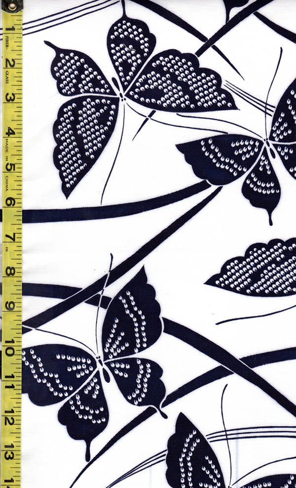 Yukata Fabric - 501 - Butterflies with Shibori-like Wings - White