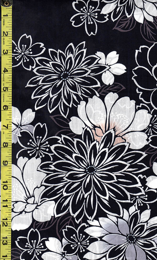 Yukata Fabric - 503 - Mums, Peonies & Cherry Blossoms - Dark Indigo (almost reads black)