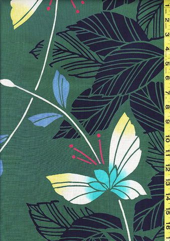 Yukata Fabric - 130 - Butterflies & Leaves - Green