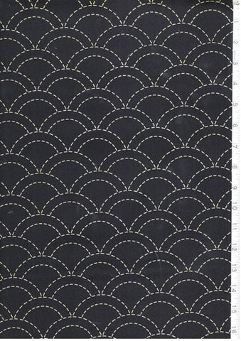 Sashiko Fabric - Pre-printed Sashiko Fabric - Clamshell - Dark Navy
