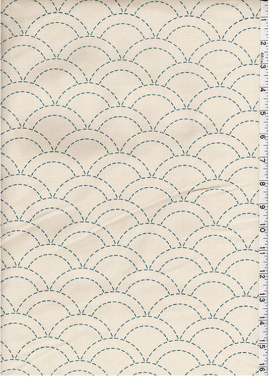 Sashiko Fabric - Pre-printed Sashiko Fabric - Clamshell - Natural