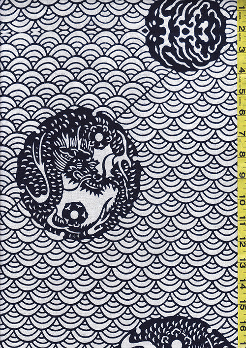 Yukata Fabric - 061 - Dragons & Clamshells