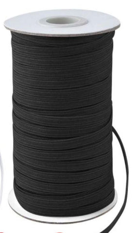 Notions -  Braided Elastic - 1/4 inch - Black