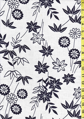 Yukata Fabric - Y03 - Mums, Maple Leaves & Bamboo
