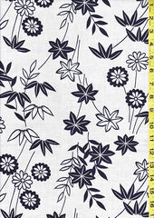 Yukata Fabric - 103 - Mums, Maple Leaves & Bamboo