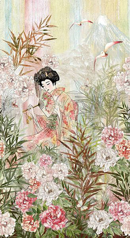 *Asian - Geisha in Peony Garden - PANEL