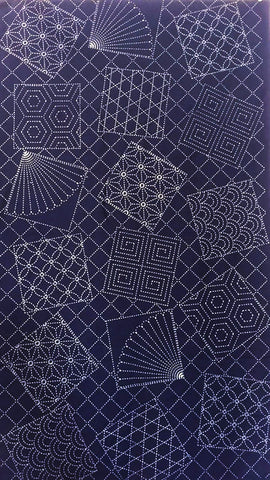 Sashiko Pre-printed Panel - Fans & Tumbling Blocks with Traditional Sashiko Motifs - Dark Navy