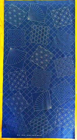 Sashiko Pre-printed Panel - Fans & Tumbling Blocks with Traditional Sashiko Motifs - Blue