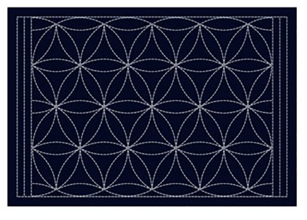 Sashiko Placemat Sampler - SC-L2004 - Navy - Interlocking Petals
