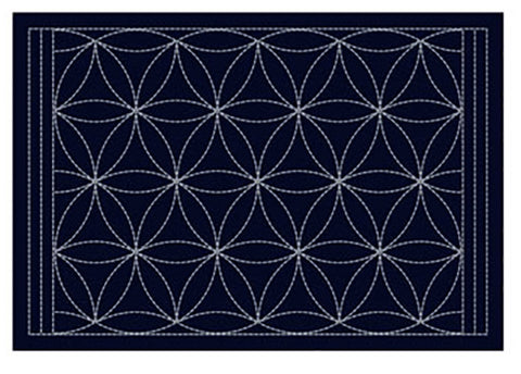 Sashiko Placemat Sampler - L-2004 - Navy - Interlocking Petals