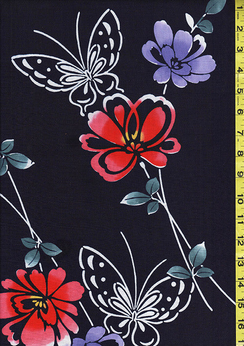 Yukata Fabric - Y01 - Butterflies & Flowers