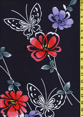 Yukata Fabric - 101 - Butterflies & Flowers