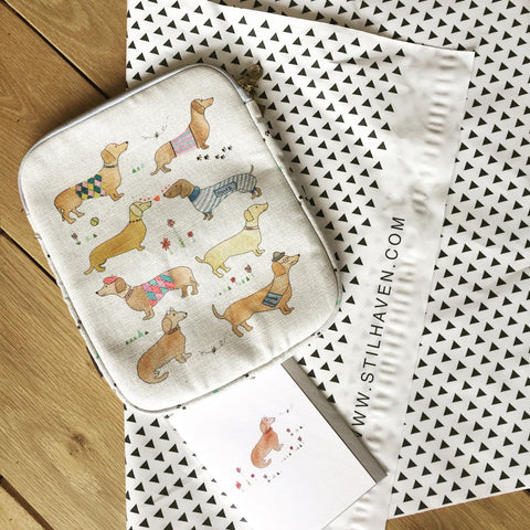 sausage dog gifts for sausage dog lovers, ipad case gift, hand painted dog print design gift