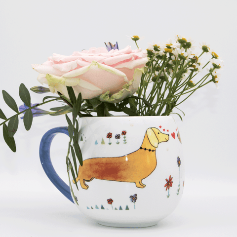 sausage dog print fine bone china mugs - stil haven